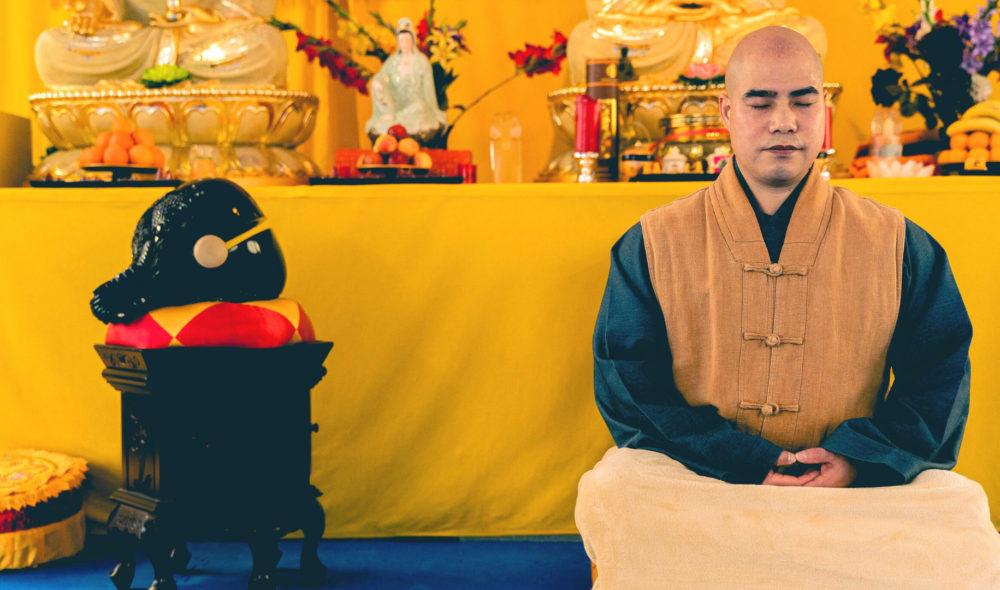 Ein buddhistischer Mönch sauehrlich: Shi Yan Liang